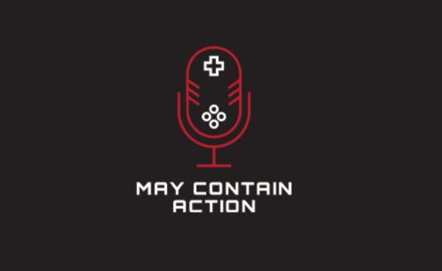 Black background with a red microphone that reads May Contain Action