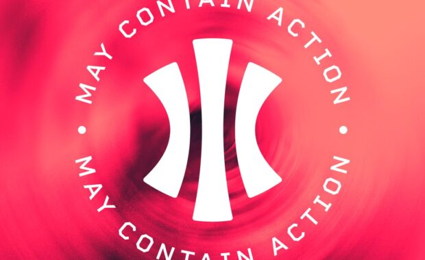 Red and Black circle and spotted background as the new May Contain Action Podcast graphic